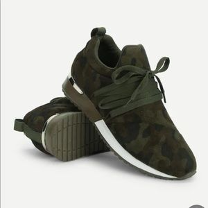 Shoes - Camo Suede Lace Up Sneakers